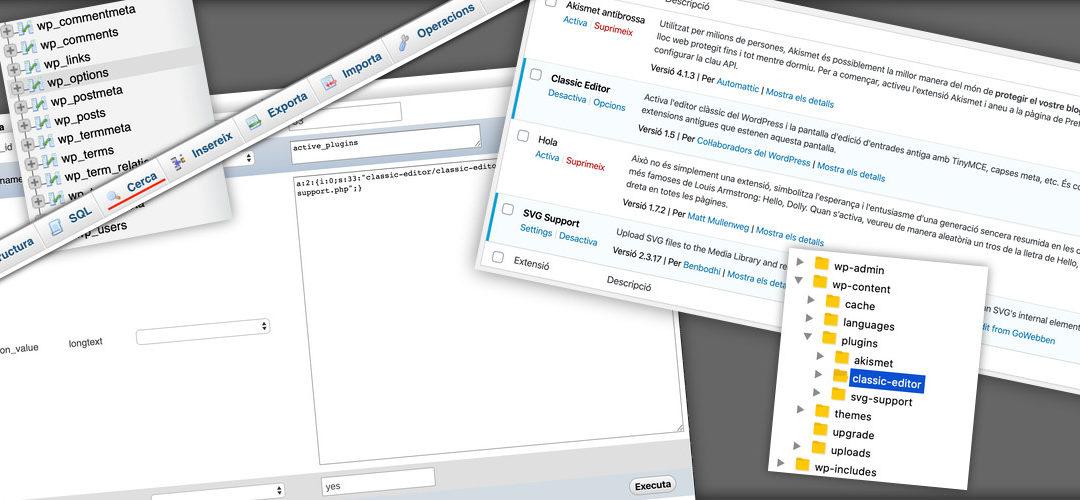 Deshabilitar un plugin de WordPress sense entrar a l'àrea d'admnistració