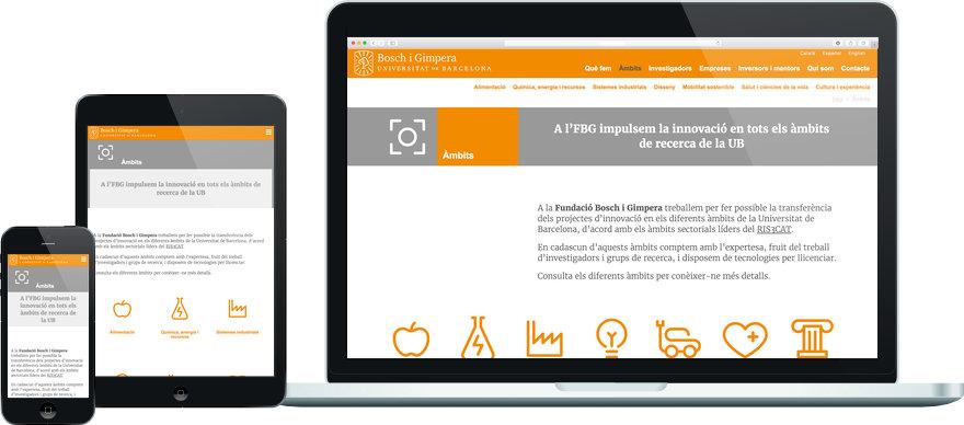 Fundació Bosch i Gimpera programació plantilla web a mida i maquetació contingut exemple 2