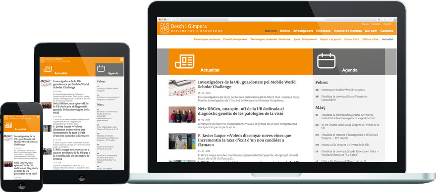 Fundació Bosch i Gimpera programació plantilla web a mida i maquetació contingut exemple 3