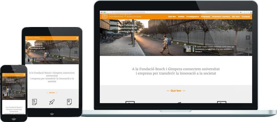 Fundació Bosch i Gimpera programació plantilla web a mida i maquetació contingut exemple 1