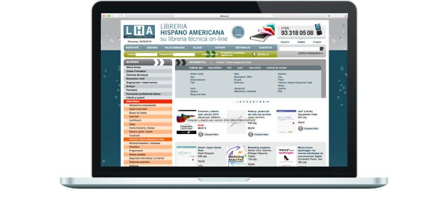 Llibreria Hispano Americana programació botiga online a mida exemple 2