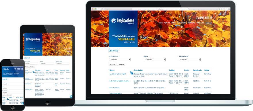 Viajes Tejedor disseny web programació plantilla web a mida exemple 2