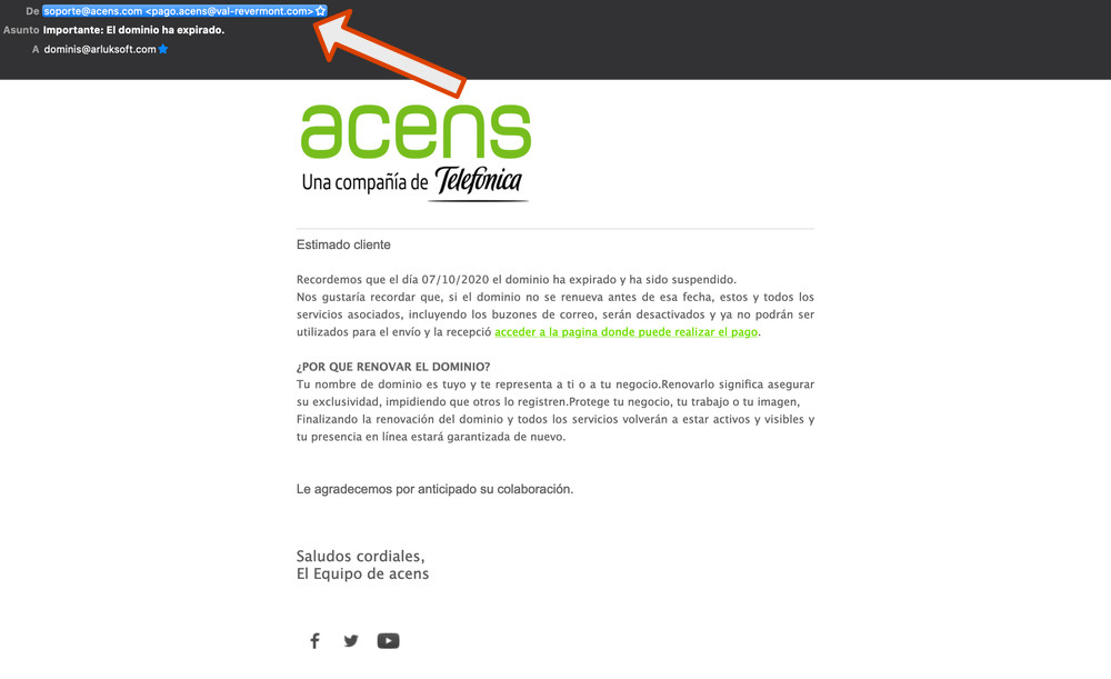 exemple email phishing acens