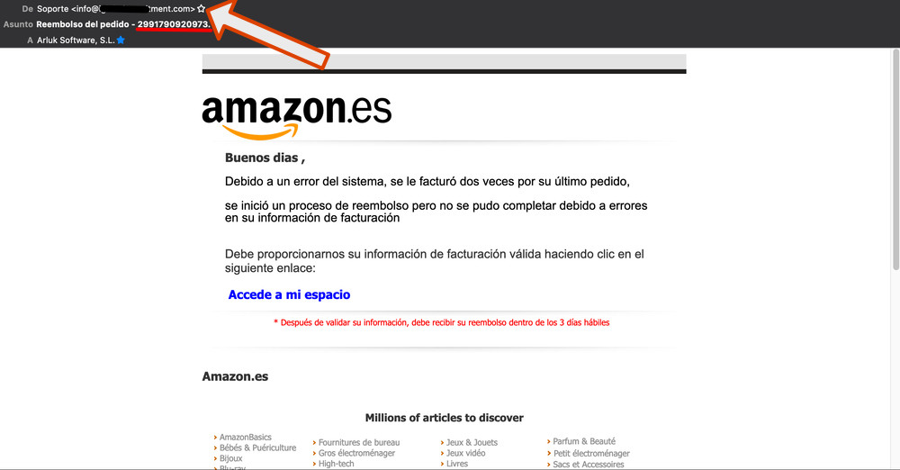 exemple email phishing amazon