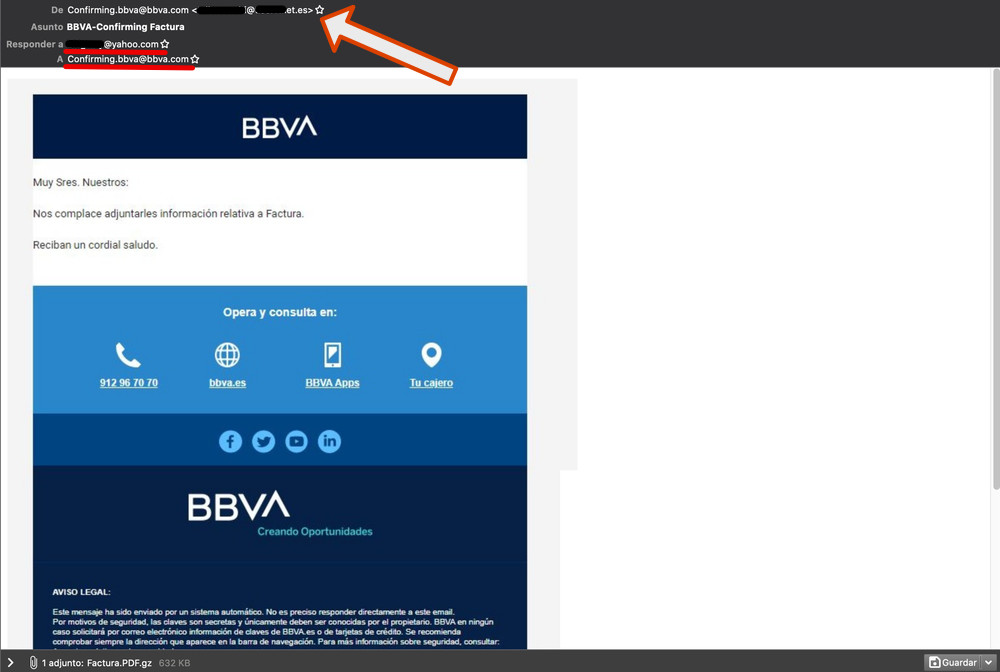 exemple email phishing bbva