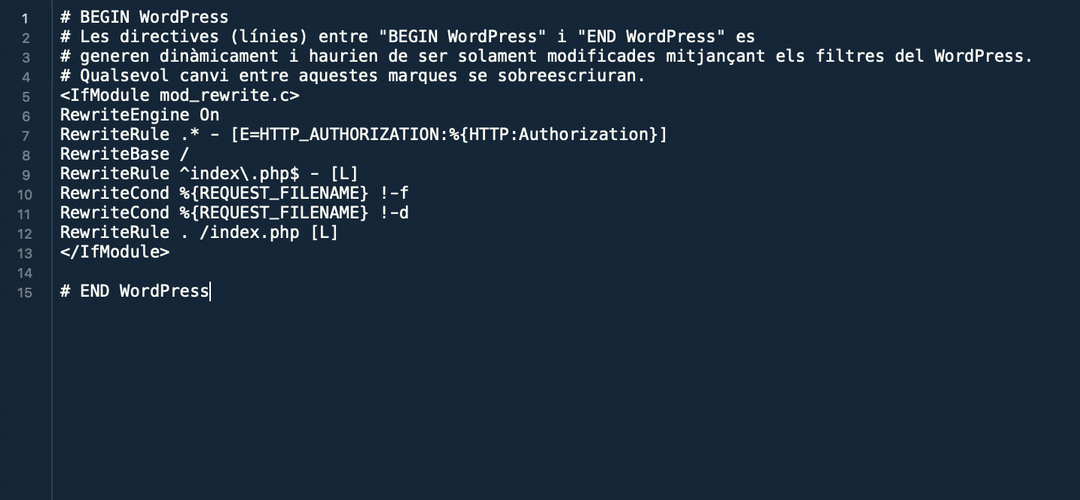Fitxer htaccess per defecte de WordPress